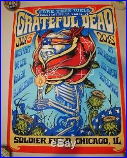 Set of 3 GRATEFUL DEAD POSTERS by MUNK ONE CHICAGO FARE THEE WELL July 3 4 5'15