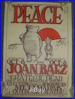 Stanley Mouse Grateful Dead Joan Baez Peace Winnie The Pooh Piglet Poster c1966