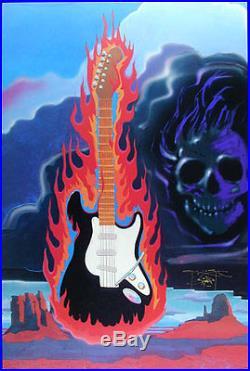 Stanley Mouse MEGA RARE Hand Signed Guitar in Flames Art Poster Grateful Dead