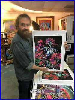 Stanley Mouse SIGNED SKELETON & ROSES HAND AIRBRUSHED COLOR PRINT PURPLE COA