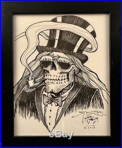 Stanley mouse original sketch. Top hat skeleton
