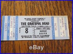 Super Rare Barton Hall Cornell Grateful Dead C. U. Student concert ticket 5-8-77
