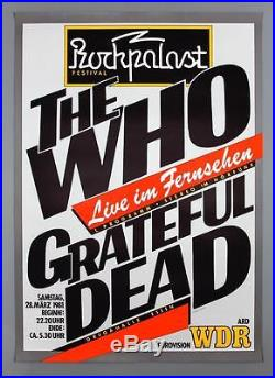 THE WHO + GRATEFUL DEAD mega rare original Germany 1981 concert poster