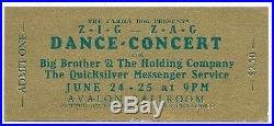 The Family Dog Presents Zig Zag Dance Concert Ticket 1966 Avalon Ballroom
