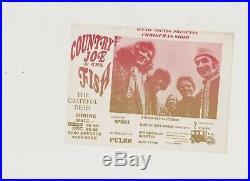The Grateful Dead 1968 Concert Handbill Flyer Country Joe Art Of Rock Original