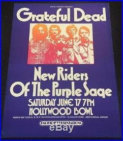 The Grateful Dead New Riders Of The Purple Sage Concert Poster Hollywood Bowl La
