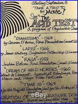 The Movie Handbill See The Acid Test Psychedelic Cinema San Fran Summer Of Love