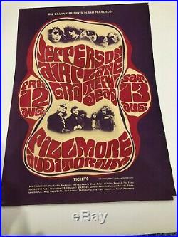 VINTAGE GRATEFUL DEAD Poster Fillmore Auditorium August 12 1966 Second Print