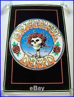 Vintage 1970's Grateful Dead Skull And Roses Black Light Poster Rare 23 X 35