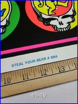 Vintage Original 1997 Grateful Dead Steal Your Bear Black Light Poster 35x23
