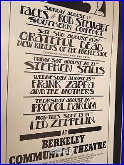 Vintage Zeppelin Grateful Dead Faces Zappa Poster Tuten Signed 1972 Bill Graham