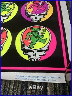 Vtg Blacklight Flocked Multi Color Steal Your Bear Grateful Dead 35x23 Poster