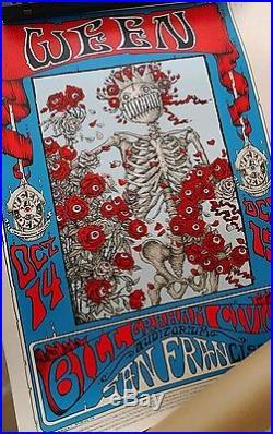 Ween Poster San Francisco skull & roses grateful dead style, sig/num 2016 10/14