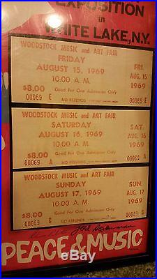 Woodstock'69 Music Concert Poster & 3 ORIGINAL Tan Tickets NUMBERED 69 RARE
