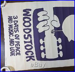 Woodstock, Original Vintage 1969 Poster from Concert Movie Warner Bros purple US
